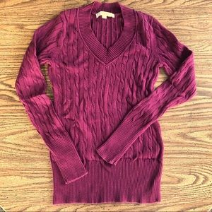 LOFT Maroon Cable Knot V-Neck Sweater